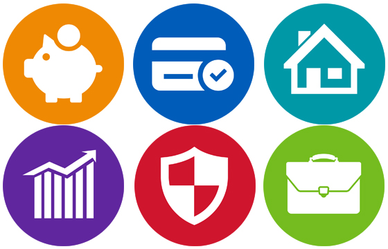 piggy bank, credit card, house, bar chart, shield, and briefcase icons