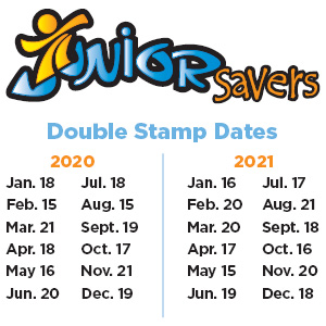 Junior Savers 2020 2021 Double Stamp Dates